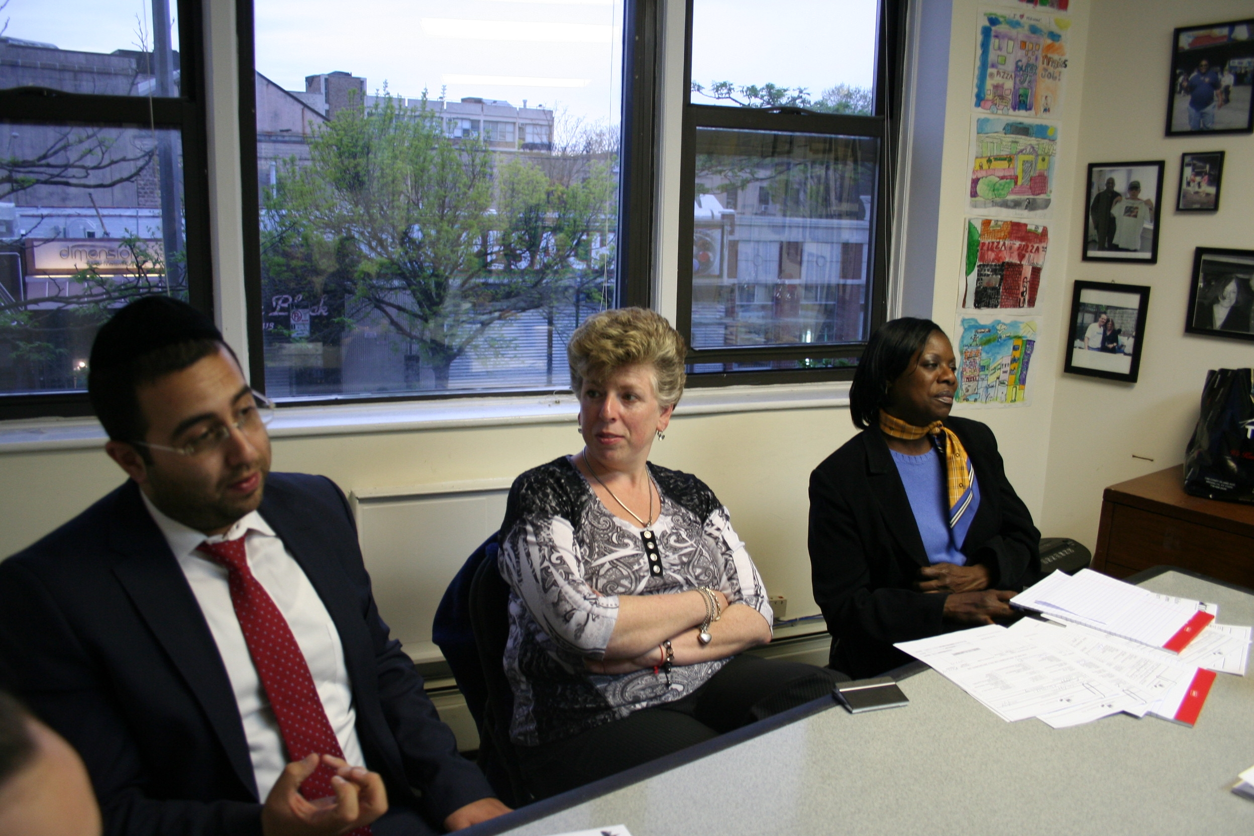 housing workshop highlights midwood development corporation left to right manny gold emt credit counselor julie kvyatkovsky liberty mutual insurance agent and arlene simon chase representative and mdc board